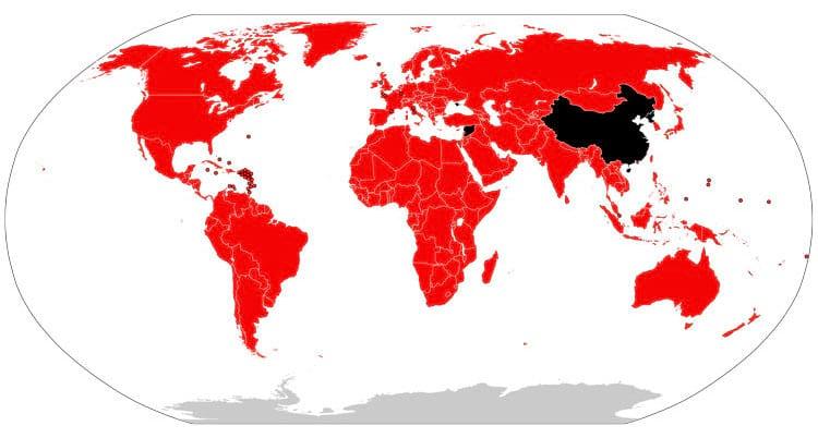 Países em vermelho onde a Netflix está presente