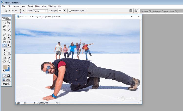 Como desfocar parte da imagem no Photoshop?