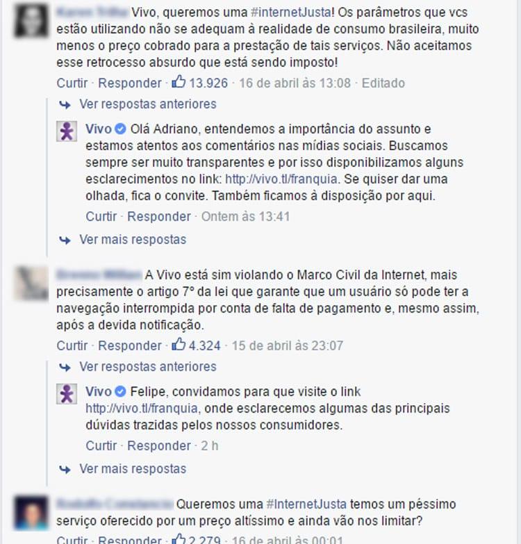 Em postagem no Facebook, Vivo defende limite e revela que também terá franquias ilimitadas