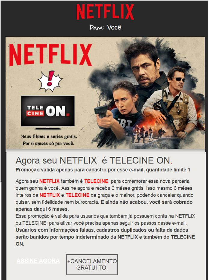 E-mail falso sobre a Netflix.
