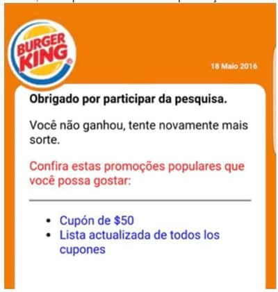 Novo golpe no WhatsApp usa Burger King como isca
