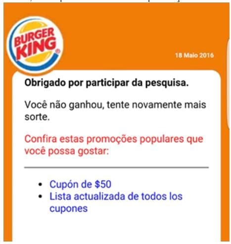 Novo golpe no WhatsApp usa Burger King como isca