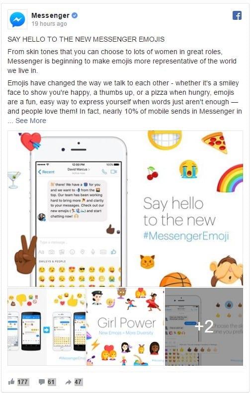 Facebook Messenger disponibiliza novos emojis para celebrar a diversidade