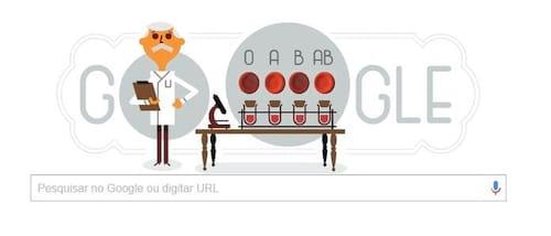 Doodle do Google homenageia Karl Landsteiner, que descobriu os tipos sanguíneos