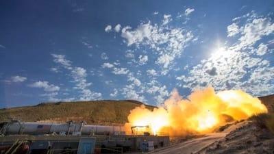Nasa realiza teste de motor de foguete com transmiss�o em tempo real