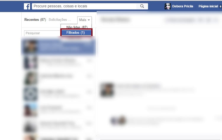 Como ler as mensagens filtradas do Facebook?