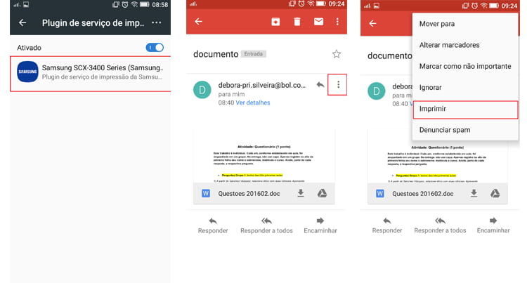 Como imprimir documentos a partir do Android?