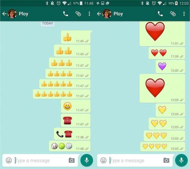 Emojis gigantes já estavam disponíveis para os usuários iOS. Agora, porém, o Android também irá ofertar a novidade.
