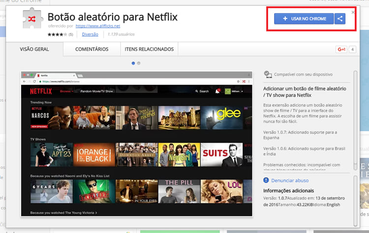Extensão permite assistir filmes de maneira aleatória na Netflix
