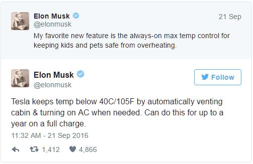 Tesla desenvolve tecnologia para crianças não morrerem asfixiadas dentro de veículos