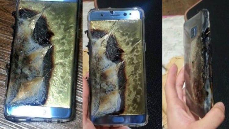 Imagem de um Galaxy Note 7 após explodir. Samsung determinou recall dos produtos.