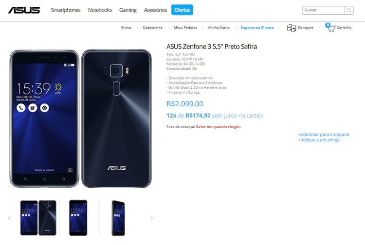 Vaza preço de Zenfone 3 na loja da ASUS: R$ 2.099,00