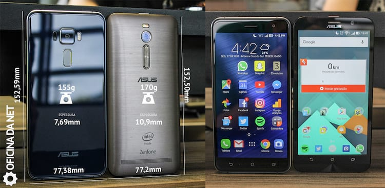 Comparativo de tamanho Zenfone 2 vs Zenfone 3