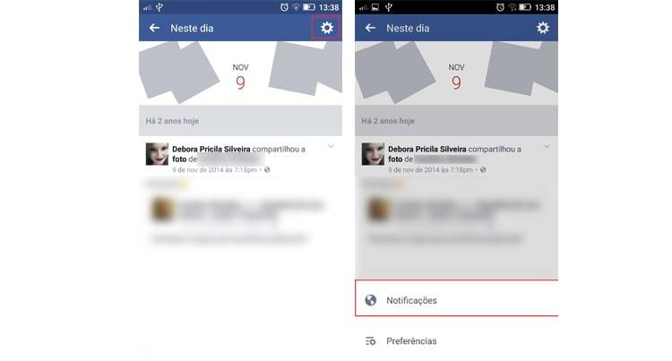 Como desativar as notificações de recordações do Facebook pelo celular?