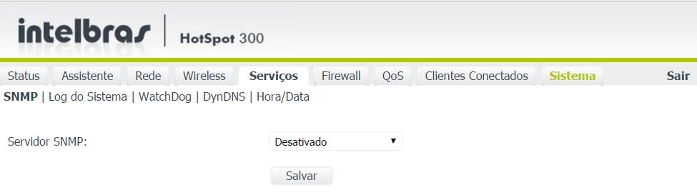 Configurações dos serviços disponíveis