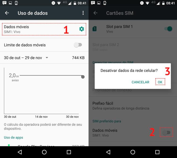 Como ligar e desligar os dados móveis no Android