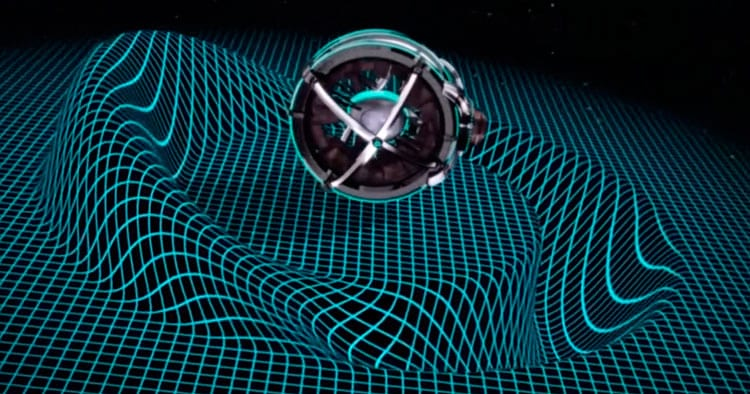 Simulação de uma espaçonave criando uma Warp Bubble