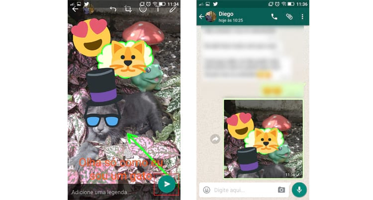 Como adicionar desenhos, texto e emojis as fotos e vídeos do WhatsApp