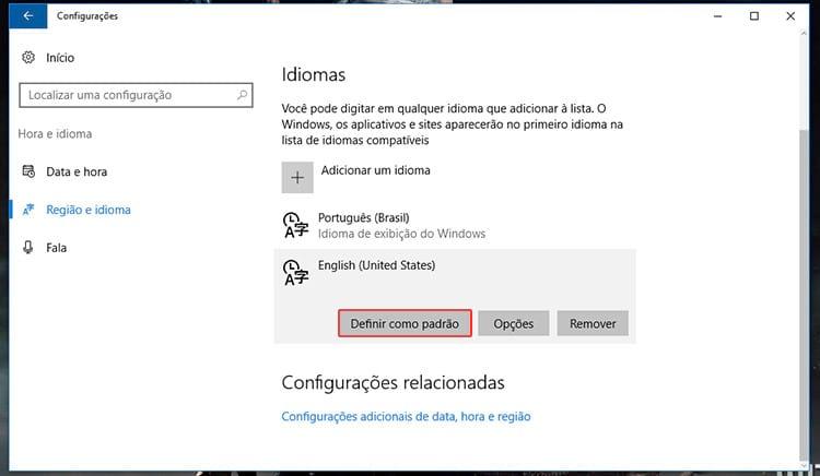 Como utilizar um teclado americano no Windows 10?