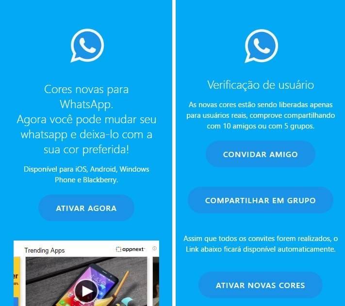 Golpe que promete mudar a cor do WhatsApp já fez mais de 1 milhão de vítimas