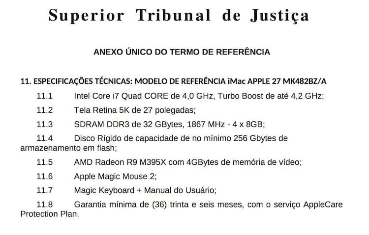 """STJ compra 12 iMacs com tela retina 5K por R$ 339 mil, para """"editar imagens"""""""