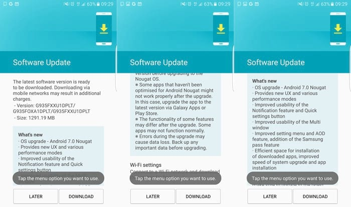 Galaxy S7 e S7 Edge começam a receber atualização para Android Nougat 7.0