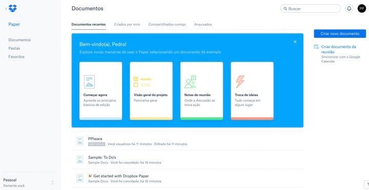 Serviço do Dropbox permite a edição de documentos. Ele é muito semelhante ao Google Docs.