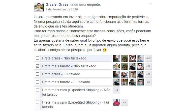 Enquete realizada no grupo Periféricos High End