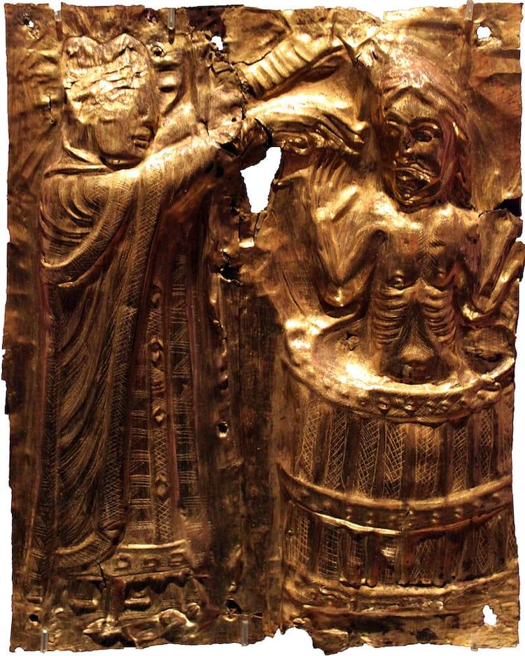Harald, à direita, sendo batizado como cristão