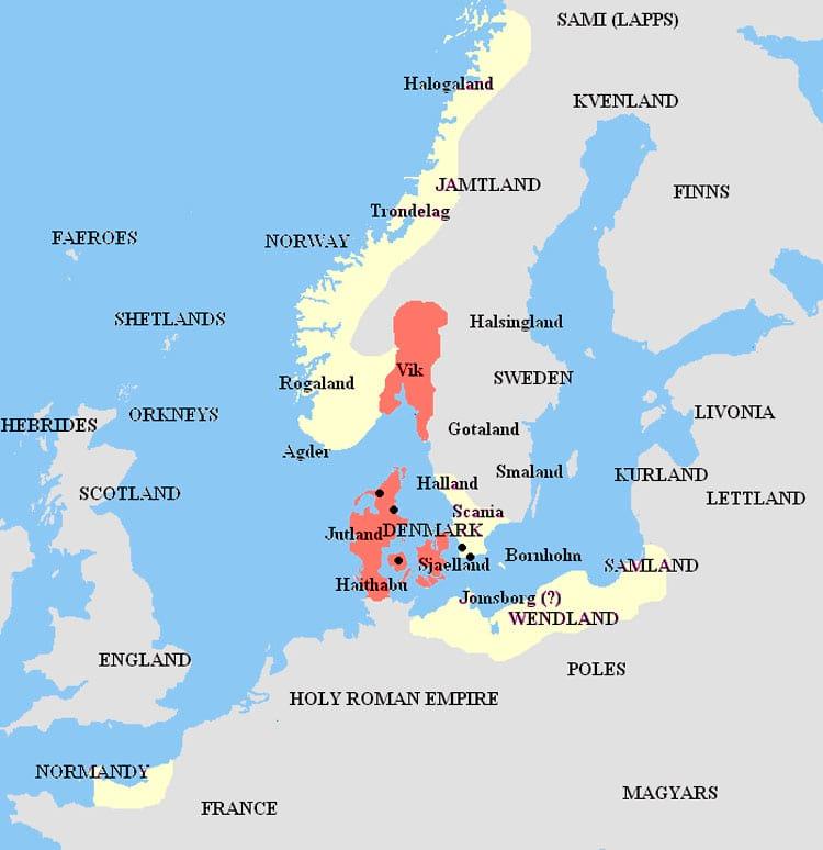 Extensão máxima dos domínios de Harald. Em vermelho seu reino e amarelo os vassalos e aliados.
