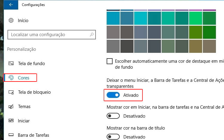 Como deixar a barra de tarefas transparente no Windows 10?