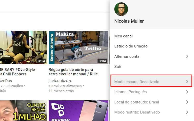 Como ativar modo noturno do Youtube