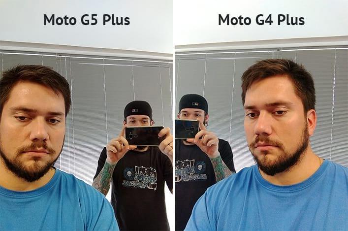 Na selfie com o Moto G5 Plus, apesar da minha pele estar mais amarelada que na foto ao lado, percebo um pouco mais de fidelidade às cores dos livros, ou seja, o ponto principal deste clique era eu mesmo e nesta foto o Moto G4 Plus levou a melhor.