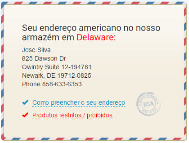 Exemplo de endereço nos EUA fornecido gratuitamente pela Qwintry