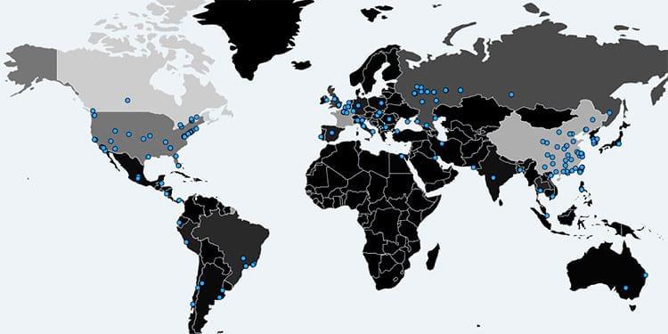Mapa dos computadores afetados em tempo real. Fonte: Malware Tech