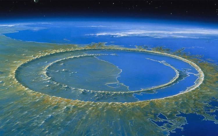 A cratera Chicxulub, local onde o meteoro atingiu a Terra