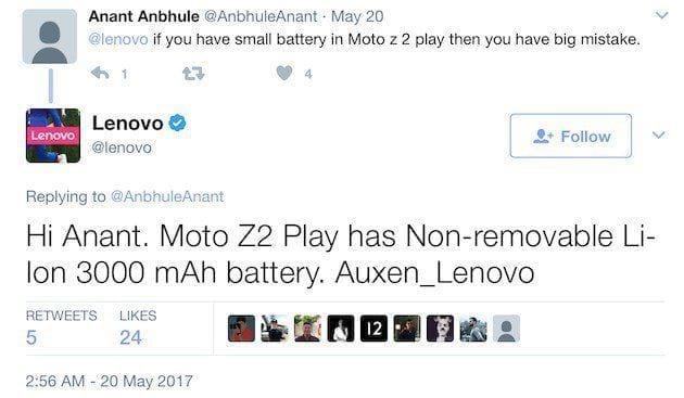Tweet da <a onclick=&quot;_gaq.push(['_trackEvent', 'link_tag', 'pfr19102', 'tagto_lenovo']);&quot; href='https://www.oficinadanet.com.br/lenovo'>Lenovo</a> sobre o Moto Z2 Play