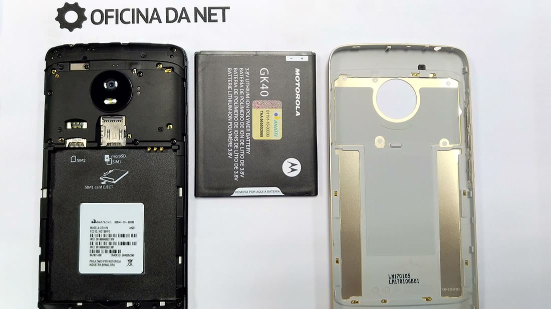 Moto G5 aberto