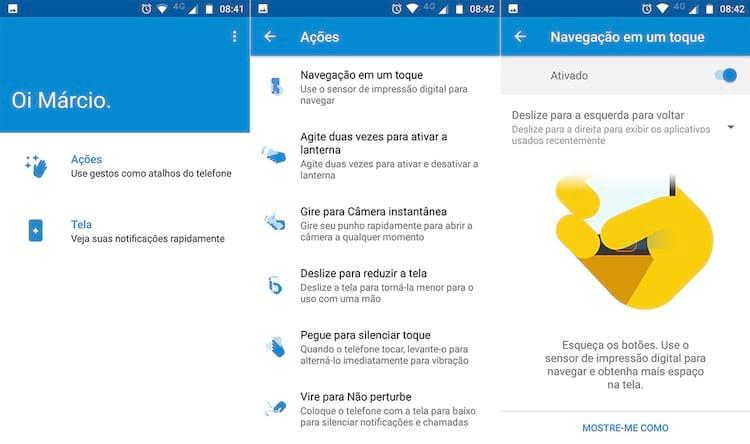 Telas do app Moto