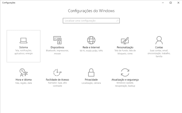 Menu Configurações do Windows.