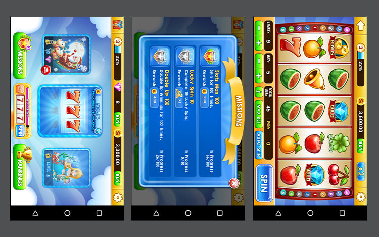 Interface Slot Machine.