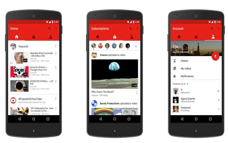 YouTube em dispositivos móveis
