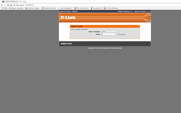 Cole o endereço de IP em seu navegador.