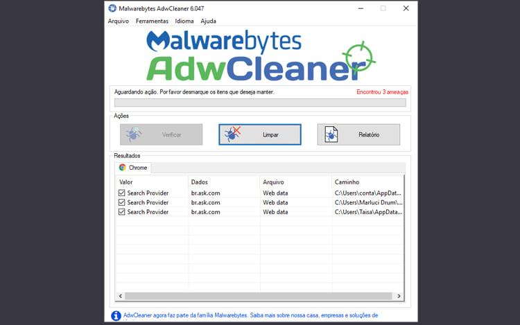 Escaneamento Realizado com o AdwCleaner.