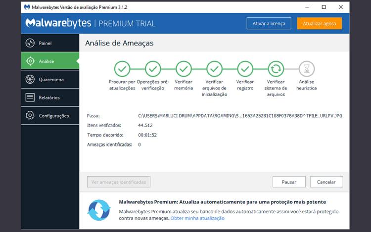 Escaneamento feito com o MalwareBytes.