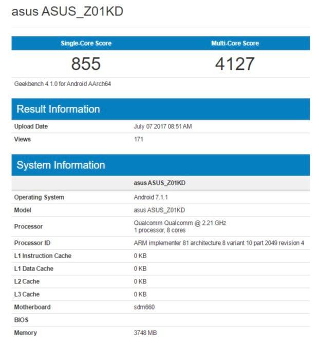 Modelo ASUS Z01KD - Geekbench