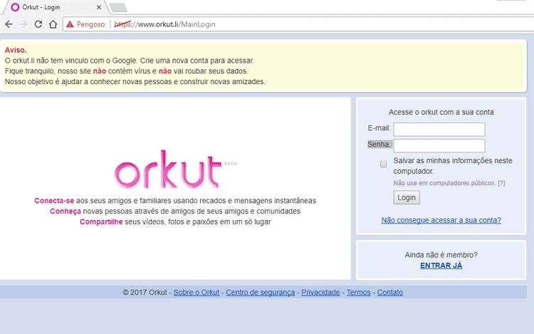 """Tela do """"novo"""" orkut"""