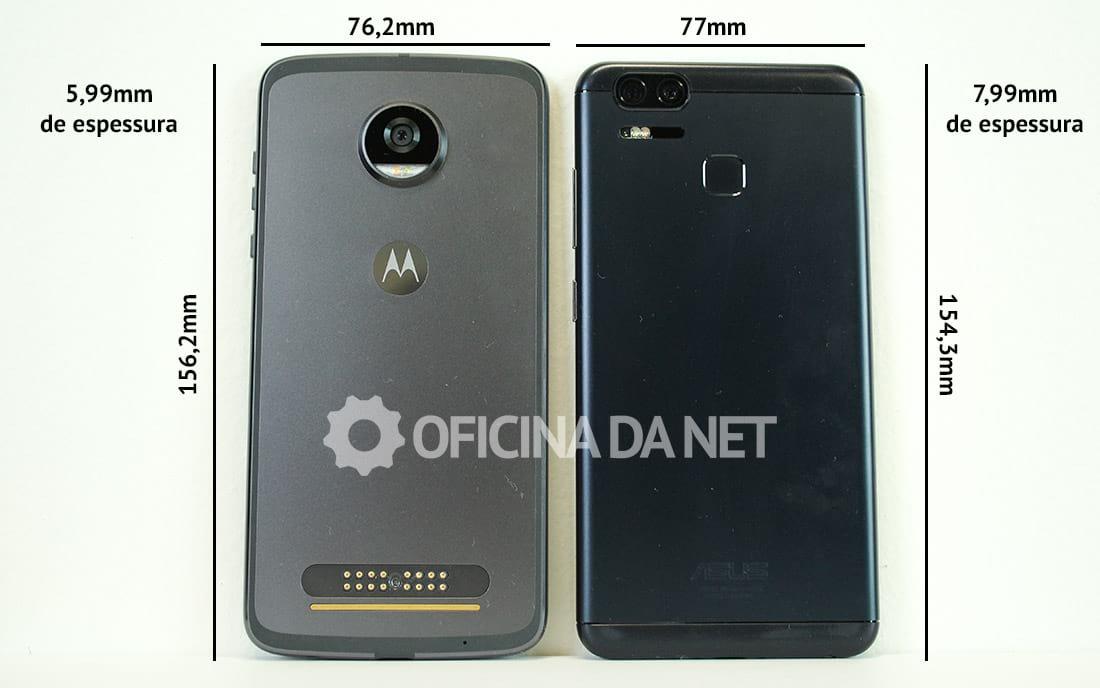 Comparativo: Moto Z2 Play vs Zenfone 3 Zoom - Medidas