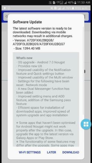 Atualização para o Android Nougat começa a chegar aos dispositivos Galaxy A7 (2017)