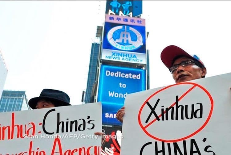 Protesto - em NY - contra a rede de agências chinesa